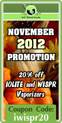Iolite and WISPR Portable Vaporizers promo  - November 2012